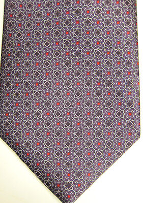 NEW $230 Brioni Purple With Tiny Red Diamonds Handmade Italy  Silk Tie