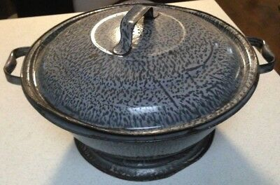 Vintage Gray Graniteware Enamelware Large  Dough Bowl W/ Two Handles & lid