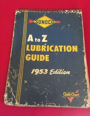 1953 SUNOCO A to Z LUBRICATION GUIDE Garage Station Manual Guide Chek-Chart Book