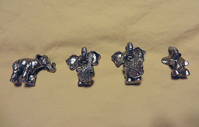 4-Trunks-Up Miniature Pewter Elephant (2-Cello Players) Spoontiques? Figurines