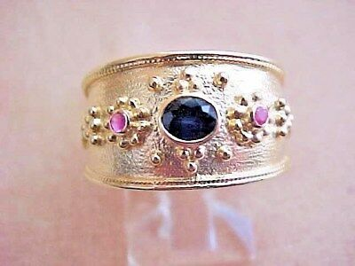 14k Solid Yellow Gold Oval Sapphire Round Rubys Etruscan Byzantine Style Ring