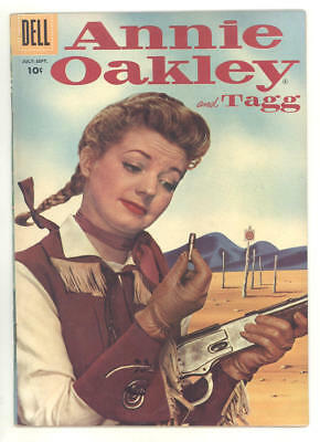 1956 ANNIE OAKLEY & TAGG #8 comic book CONTEMPLATING HER BULLET photo cover.FINE