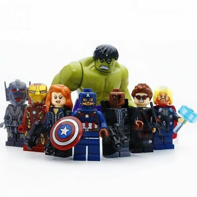 8 Sets Super Heroes Avengers Minifigures Toys Captain Hulk Iron Man Blocks