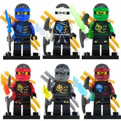 6 Sets Minifigures Flying Phantom Ninjago Toys Ninja NYA KAI Lloyd JAY Blocks