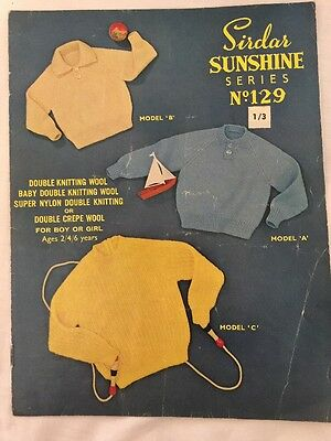SIRDAR SUNSHINE SERIES #129 GIRL or BOY JUMPERS : 2 to 6 years : c1950's