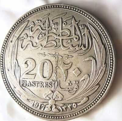 1917 EGYPT 20 PIASTRES - AU BIG VALUE - Scarce Hard to Find Silver Coin -Lot 526