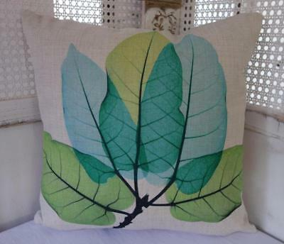Teal & Green Large Leaves Cotton Blend Cushion Cover 45