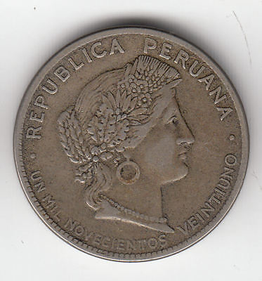 Peru 20 Cents 1921 Cupronickle      192K     By Coinmountain