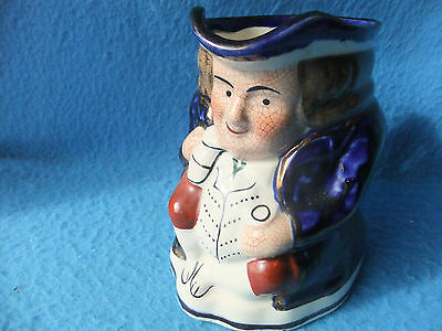 """Toby Jug - Sitting In Dark Blue Coat With Copper Gilding - Appx 5"""" Tall"""