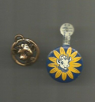 Ca. 1960s The Borden Co. Elsie the Cow Litho Tab Button and Plastic Charm