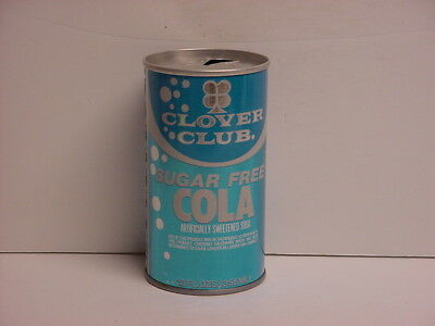 Vintage Clover Club Sugar Free Cola Straight Steel Top Opened Soda Can