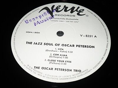 Rar Promo - The Oscar Petterson Trio - Jazz Soul - Verve 8351 - White Label