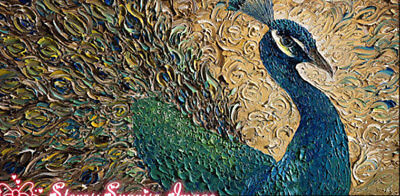 CHOP548 rare abstract peacock hand painted oil painting on canvas wall art