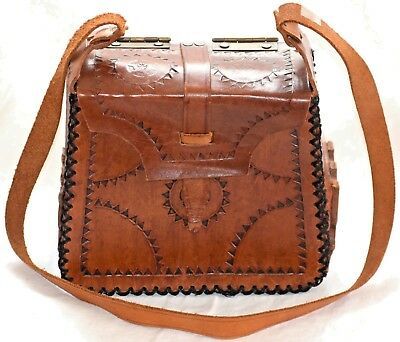 Vintage tooled brown leather mexican? shoulder bag AWESOME!!