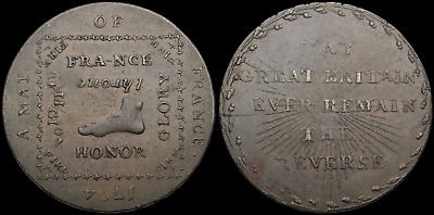 GREAT BRITAIN. Conder Halfpenny Token, 1794, Map of France