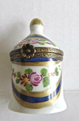 Antique Limoges Apothecary Jar Shaped Trinket Box Hand Painted Gilt Highlights