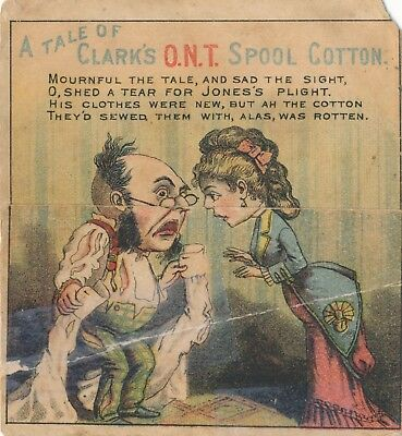 1890-1899 Clark's ONT Thread Fold Down Victorian Cartoon Trade Card