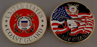 "United States Coast Guard red CHALLENGE COIN 1 5/8"" Helicopter/US Flag/USCG"