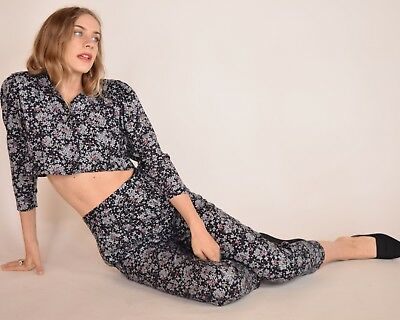 Vtg 70s 2 piece floral gauze CROPPED blouse + high waist HAREM resort pants set