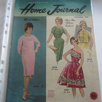 Australian Home Journal Magazine 1961 September Includes used sewing Patterns