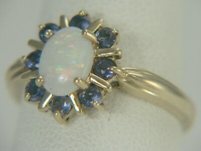 14k Yellow Gold Opal Cabochon and Blue Sapphire Ring Size 8