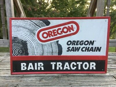 "Vintage OREGON SAW CHAIN Bair Tractor Ad Dealers Sign Embossed Tin 36"" Chainsaw"