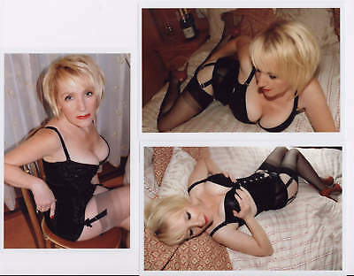 3 Risque model photos, busty mature blond, poses in stockings, corset #2 E-712