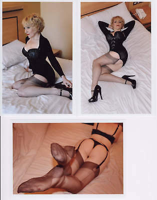 3 Risque model photos, busty mature blond, poses in stockings, corset #3 E-713