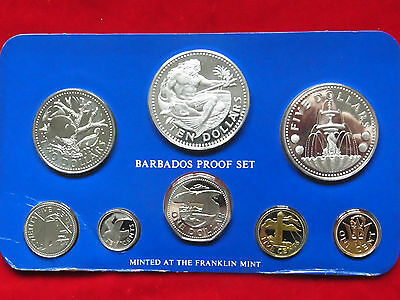 Barbados. 1977 8 Pce PROOF Set..  1,5,10 & 25c, $1,$2,$5 & $10