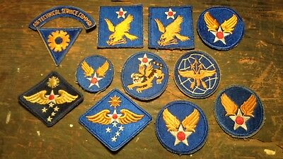 lot of 12 WWII & post vintage AAF Army Air Corps Forces arc & patches