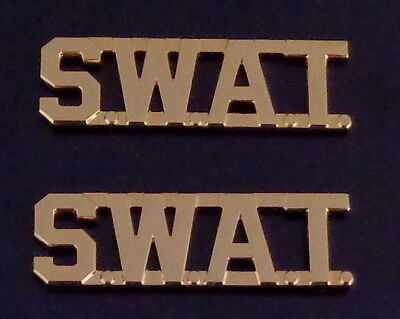"SWAT Gold 1/2"" Lettering/Letters Collar Pins Rank Insignia (police) MADE IN USA!"