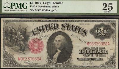 LARGE 1917 $1 DOLLAR BILL UNITED STATES LEGAL TENDER NOTE PAPER MONEY Fr 39 PMG