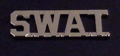 "SWAT Silver 1/2"" Lettering Uniform/Collar Pin Rank Insignia (police) USA MADE!"