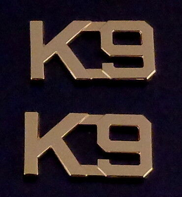 "K9 Gold 1/2"" Lettering Collar Pins Rank Insignia police canine MADE IN USA! K-9"