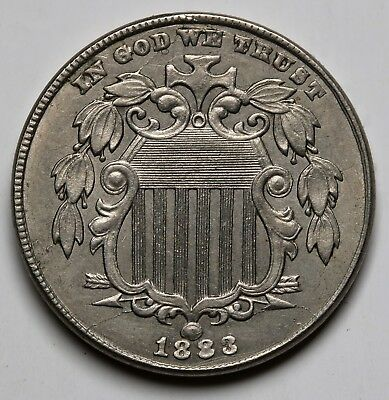 1883 US 5 Cents Union Shield Nickel Without Rays High Grade KM# 97
