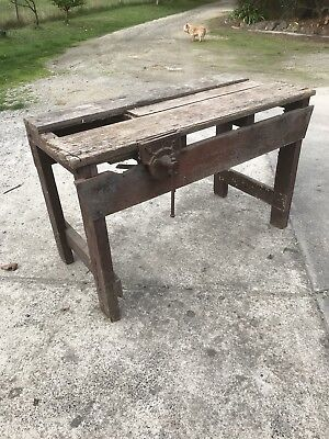 Vintage Wooden Work Bench & Dawn Vice Retro Rustic Industrial Table