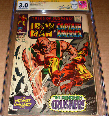 Tales of Suspense #91 CGC SS SIGNED Stan Lee Marvel Iron Man Crusher Red Skull