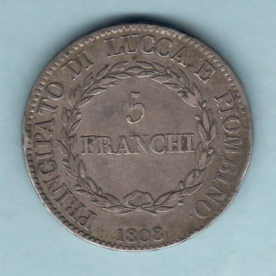 Italy - Tuscany-Lucca.  1808/7 Overdate - 5 Franchi. Trace Lustre..  gVF