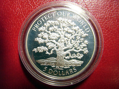 NIUE 5 Dollar 1993 Silber PP Protect our World - Tree - Naturschutz - Baum