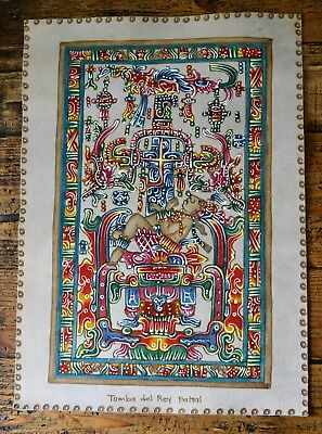 Tumba Del Rey Pakal Tomb of King Pacal Mayan Artwork Hand Painted on Suede