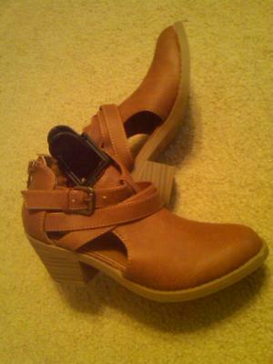 New Little Girls Brown Casual Shoes Western Look Faded Glory Size 1