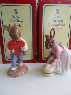 2 Royal Doulton Bunnykins Sweetheart & Ballerina  English Made  Boxed