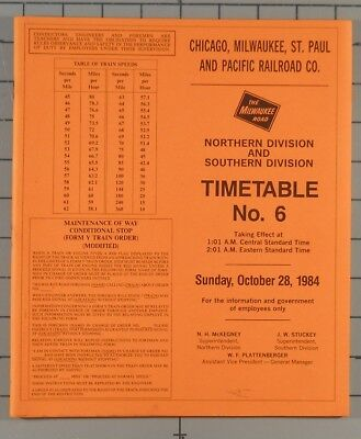 1984 Chicago Milwaukee St, Paul and Pacific Employee Timetable 6
