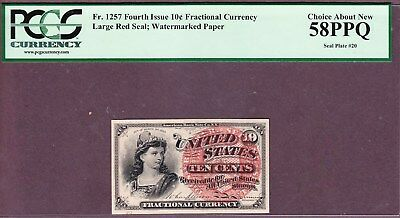 FR1257 10¢ 4th Issue Fractional with Fill Seal Plate #20  - PMG58PPQ-  Choice AU