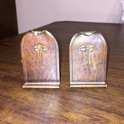 Arts & Crafts ANTIQUE PAIR ROYCROFT Floral Motif Arched Copper Bookends Signed
