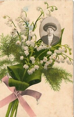 Unusual Postcard * Lily Of The Valley Flowers *  Real Photograph Portrait (E78)