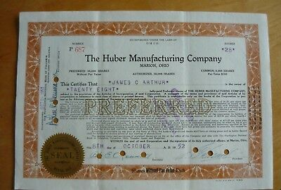 Huber Manufacturing Co. Preferred Stock Certificate. 1952, 28 Shares, Cancelled.
