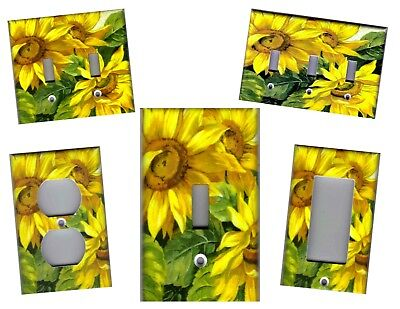 Sunflowers With Green Leaves Kitchen Home Decor Light Switch Plates Or Outlets