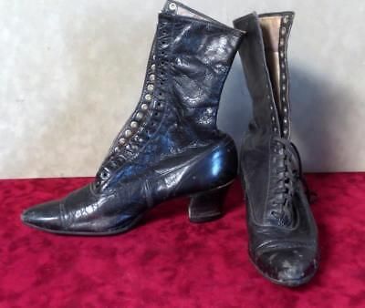 Early 1900's Antique Victorian Ladies Black Leather Lace Up Boot Shoes by Peters