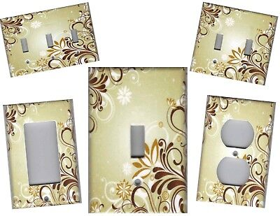 Shabby Chic Flower Splash On Tan Beige Home Decor Light Switch Plate Or Outlet